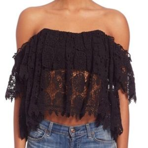 Tularosa Amelia Off The Shoulder Crochet Crop Top